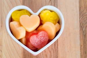 Valentines Day Child Friendly Healthy Treat With Heart-shaped Fr